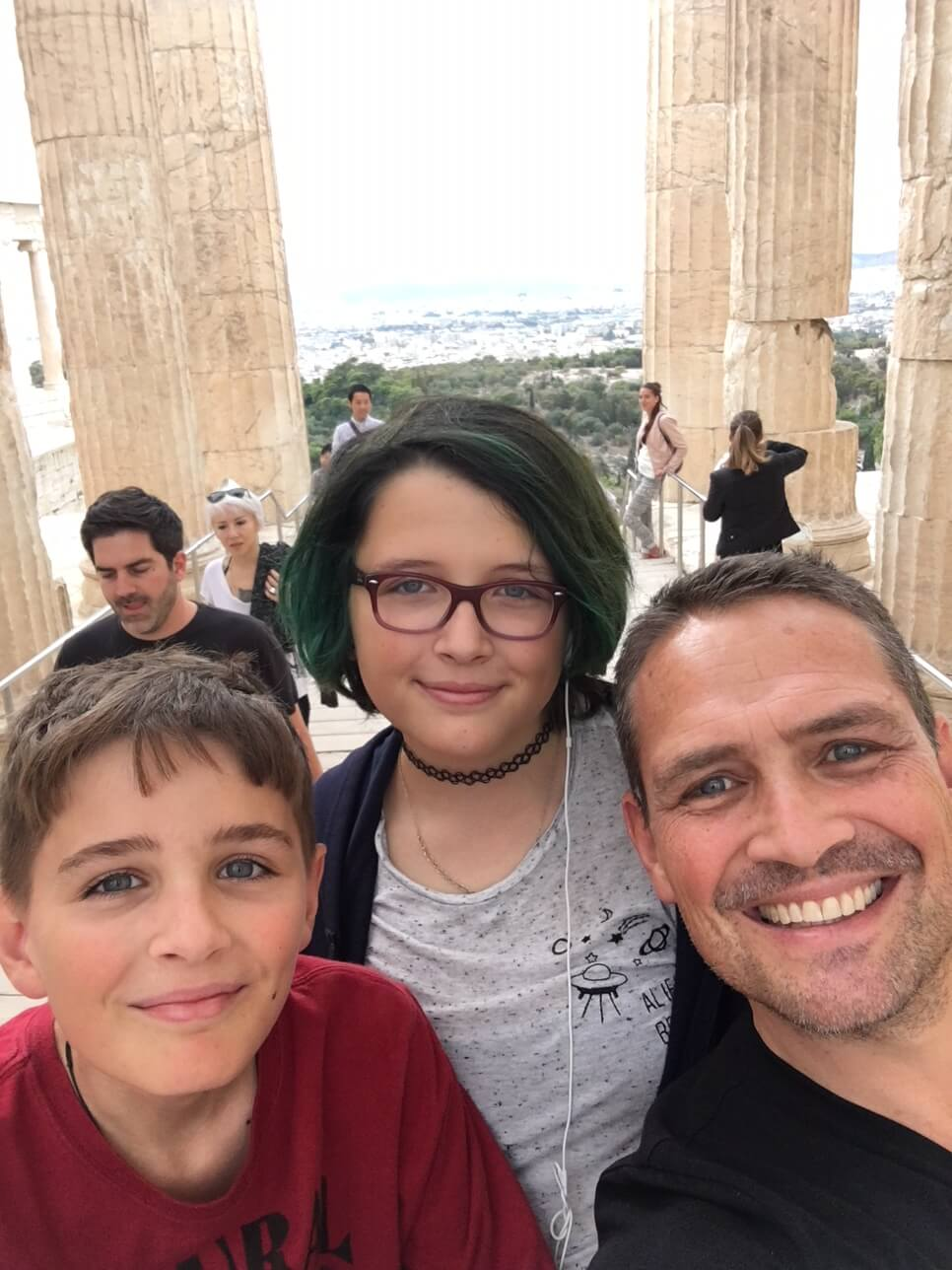 With my kids at the Akropolis
